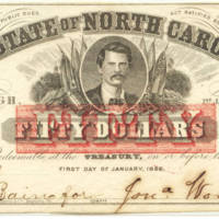 North Carolina Civil War treasury note, $50