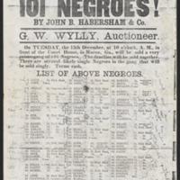 Slave auction advertisement