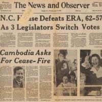 House defeats ERA, Raleigh News & Observer, Apr 17, 1975