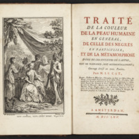 Frontispiece depicting a white aristocratic lady attended by three people of varying darker complexions and title page of Traite de la coulour de la peau humaine en general