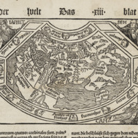 Woodcut map showing the world divided between the progeny of Noah's three sons in Hartmann Schedel's Liber Chronicarum