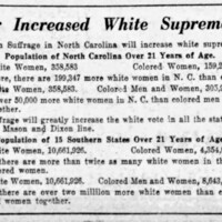 """For Increased White Supremacy,"" The News and Observer (Raleigh) Sunday, August 15, 1920"