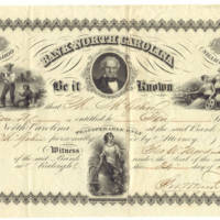 Bank of North Carolina stock certificate