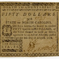 North Carolina paper money $50, 1778