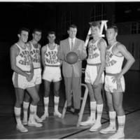 Tall Team 1956-7 (Pete Brennan, Joe Quigg, Lennie Rosenbluth, Frank McGuire, Bill Hathawy, Danny Lotz).