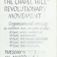 """The Chapel Hill Revolutionary Movement"" and ""Chapel Hill Radical"""
