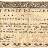 North Carolina paper money $20, 1779