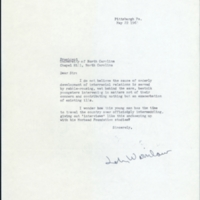 Letter from John Winslow[?] to President William Friday
