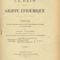 "Title page of ""Le Rein dans la Grippe Épidémique"" [""Kidney in Epidemic Influenza""]"