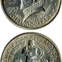 Roanoke commemorative coin, 1937, obv and rev