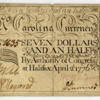 North Carolina paper money $7 1/2 showing Grand Union flag, 1776