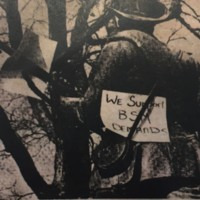 "Silent Sam with ""We Support BSM Demands"" sign, 1969"