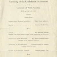 Program for the dedication of the Confederate Monument, 1913