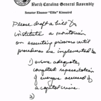 2003: Draft of S.B. 972, a bill calling for a two-year moratorium on executions in North Carolina
