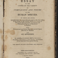 Title page of An Essay on the Causes of the Variety of Complexion and Figure in the Human Species by Samuel Stanhope Smith