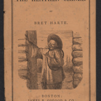 Cover of The Heathen Chinee by Bret Harte with an extreme caricatured image of a Chinese immigrant