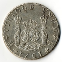 Mexican 8 reales coin 1761 (front)