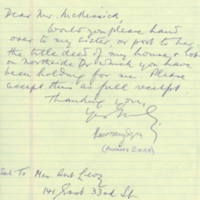 Letter from Rosemary Ezra to Floyd McKissick.