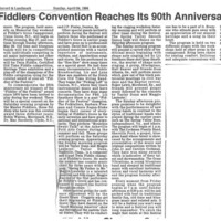 Old Time Fiddler's Convention Reaches Its 90th [sic] Anniversary Year