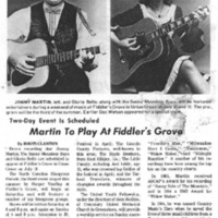 Martin to Play at Fiddler's Grove