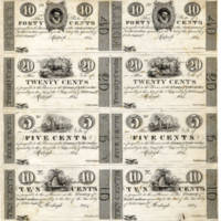 Proof sheet of  North Carolina treasury notes, 1824