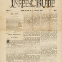 front cover of Our Free Blade by James M. Howard (1859-1943) and Josephus Daniels (1862-1948), New Bern, N.C.