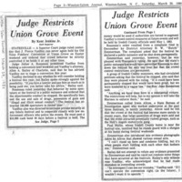 Judge Restricts Union Grove Event