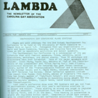 Lambda, The Newsletter of the Carolina Gay Association