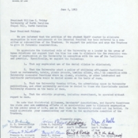Letter from eight professors from the UNC School of Law to President William Friday.