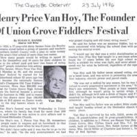 Henry Price Van Hoy, The Founder of UnionGrove Fiddlers' Festival