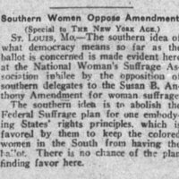 """Southern Women Oppose Amendment,"" The New York Age, March 29, 1919"