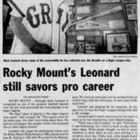 Buck Leonard, The Nashville Graphic August 5, 1980