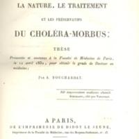Sur la nature, le traitement et les preservatifs du choléra-morbus
