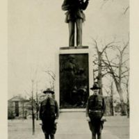 Soldiers in front of Silent Sam, 1918