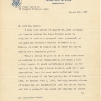 Letter, Cordell Hull to Alexander Heard