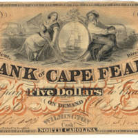 Bank of Cape Fear, Salem Branch, 1858, $5