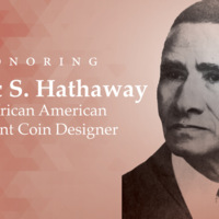 "Photograph of the bust of Isaac S. Hathaway on an orange background next to text reading, ""Honoring Isaac Hathaway: First African American U.S. Mint Coin Designer"""