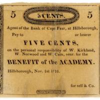 Hillsborough (North Carolina) Academy due bill, 5 cents, 1816