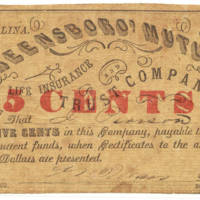 North Carolina Mutual Life Insurance Company 25 cent note 1862