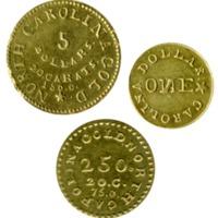 Three Bechtler coins, $1, $2.50, $5