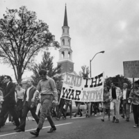 Photograph, anti-war demonstrations on Franklin Street (Anne Queen at left)