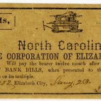 10 cent note issued by Elizabeth City during Civil War