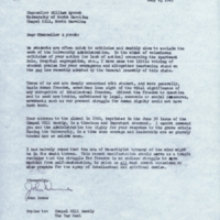 Letter from John Dunne to Chancellor William B. Aycock