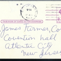 Postcard to James Farmer, National Director of CORE