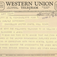 Telegram from Attorney Julius Chambers to President William C. Friday
