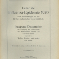 "Title page of ""Ueber die influenza epidemie 1920 nach beobachtungen auf der Zürcher medizinschen Universitätsklinik"" [""The influenza epidemic in 1920 after observations at the Zurcher Medical University Hospital""]"