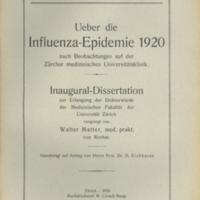 """Title page of """"Ueber die influenza epidemie 1920 nach beobachtungen auf der Zürcher medizinschen Universitätsklinik"""" [""""The influenza epidemic in 1920 after observations at the Zurcher Medical University Hospital""""]"""