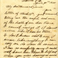 Letter from John Wilmer Blue to Margaret Monroe Blue and Jane Cameron Blue