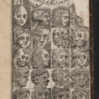 Frontispiece depicting a variety of faces from different world cultures from Anthropometamorphosis by John Bulwer