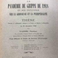 """Title page of """"La Pandémie de Grippe de 1918 et son influence sur la grossesse et la puerpéralité"""" [""""The 1918 Influenza Pandemic and its Influence on Pregnancy and Puerperalitis""""]"""